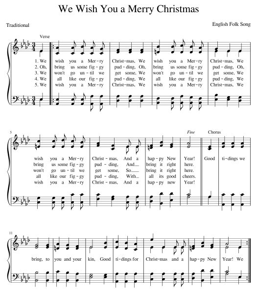 "Image of a choral setting of ""We Wish You a Merry Christmas"""