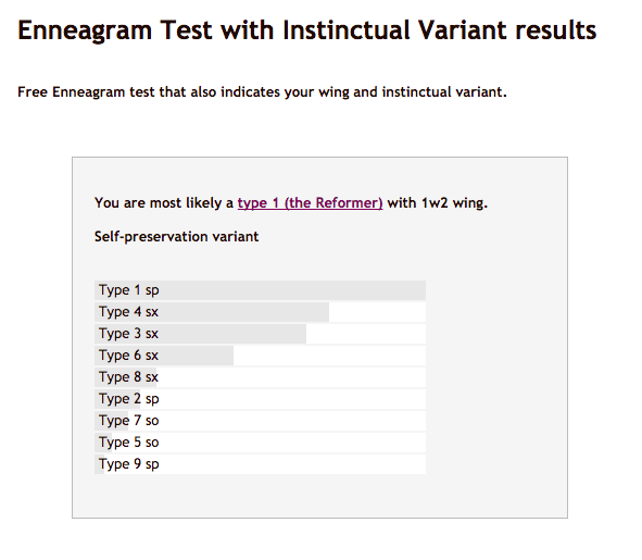 the Enneagram Tests results