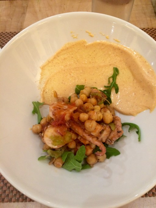 Octopus Salad a la Plancha: chickpeas, red onion, red pepper harissa aioli Paired with Relax Riesling 2014