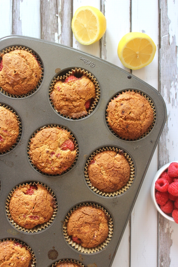 Paleo Lemon-Raspberry Muffins