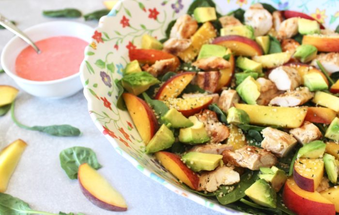 Peach Salad with Strawberry-Lime Dressing side view