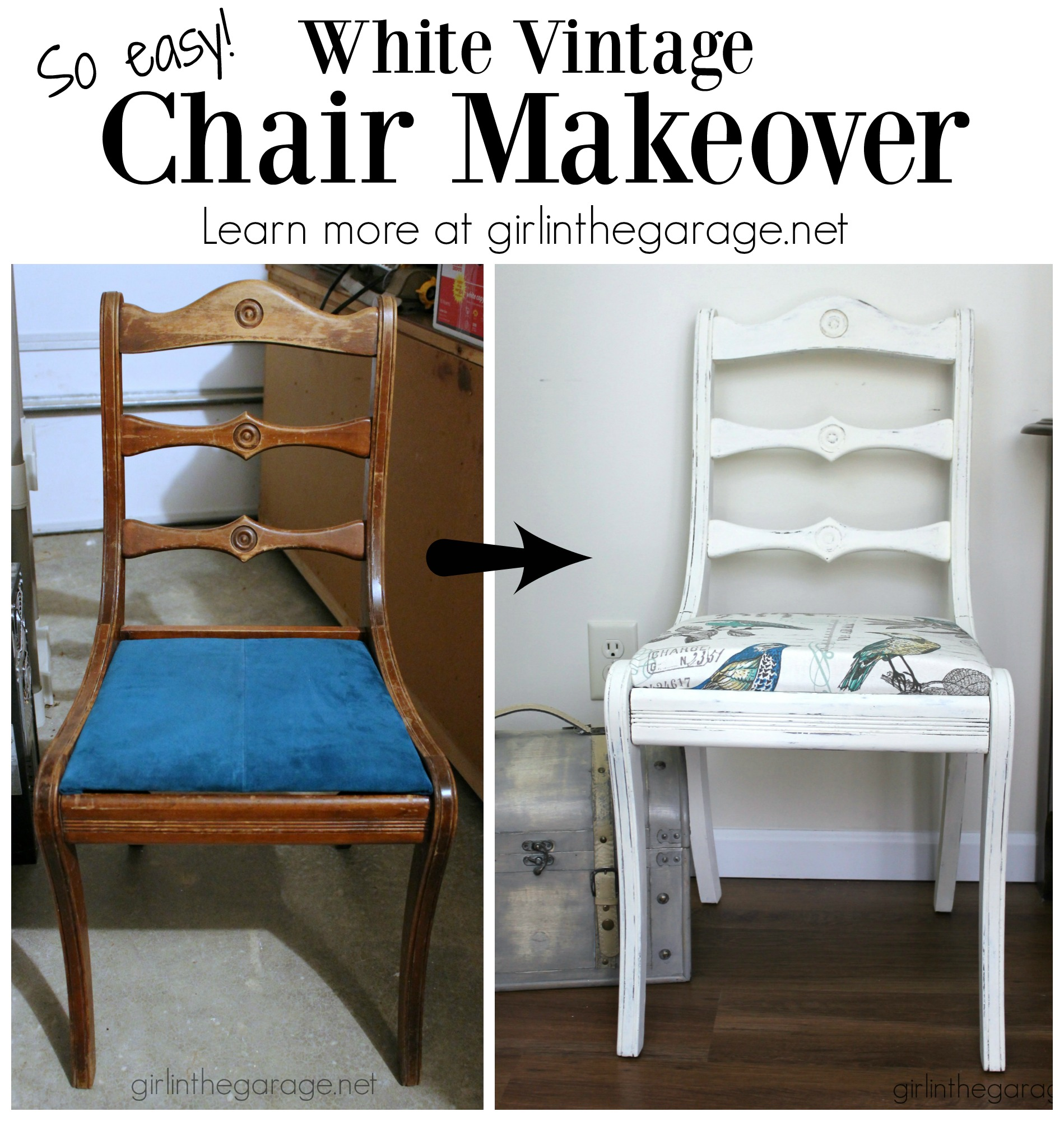 Vintage White Chair Makeover Girl In The Garage