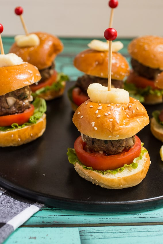 Cheese Curd Stuffed Meatball Sliders from The Girl In The Little Red Kitchen