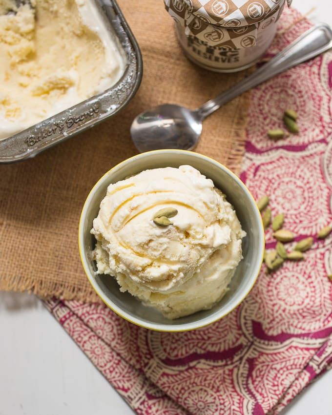 Cardamom Fig Ice Cream from The Girl In The Little Red Kitchen