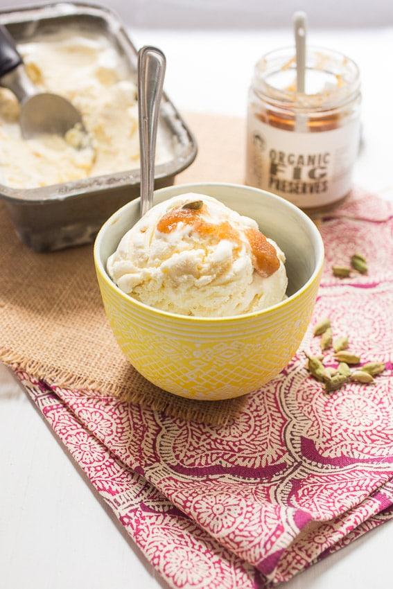 Cardamom Fig Ice Cream | girlinthelittleredkitchen.com
