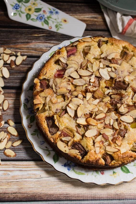 Rhubarb Ricotta Almond Cake | girlinthelittleredkitchen.com