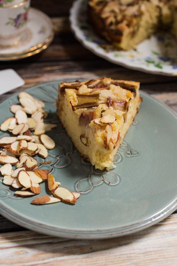 Rhubarb Ricotta Almond Cake   girlinthelittleredkitchen.com