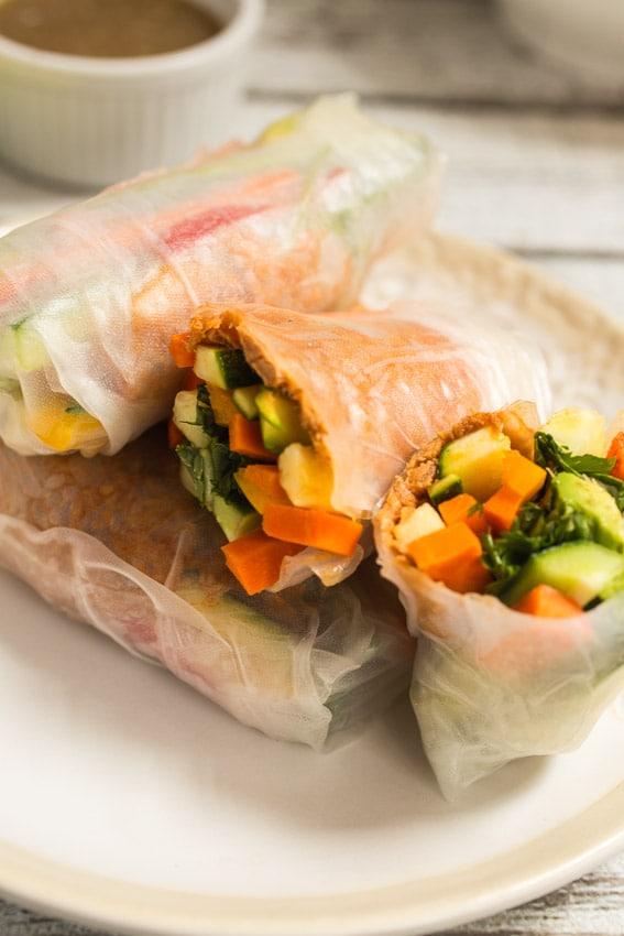 Spicy Thai Chili Tuna Summer Rolls | girlinthelittleredkitchen.com
