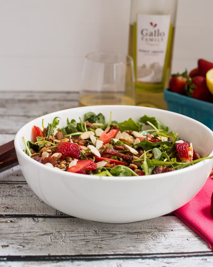 Strawberry Bacon Farro Salad | girlinthelittleredkitchen.com