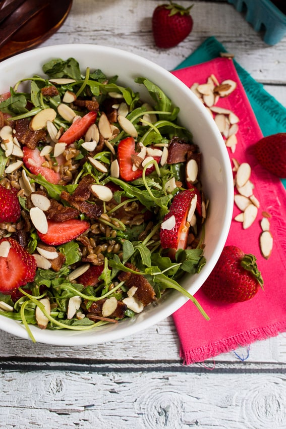 Strawberry Bacon Farro Salad from The Girl In The Little Red Kitchen