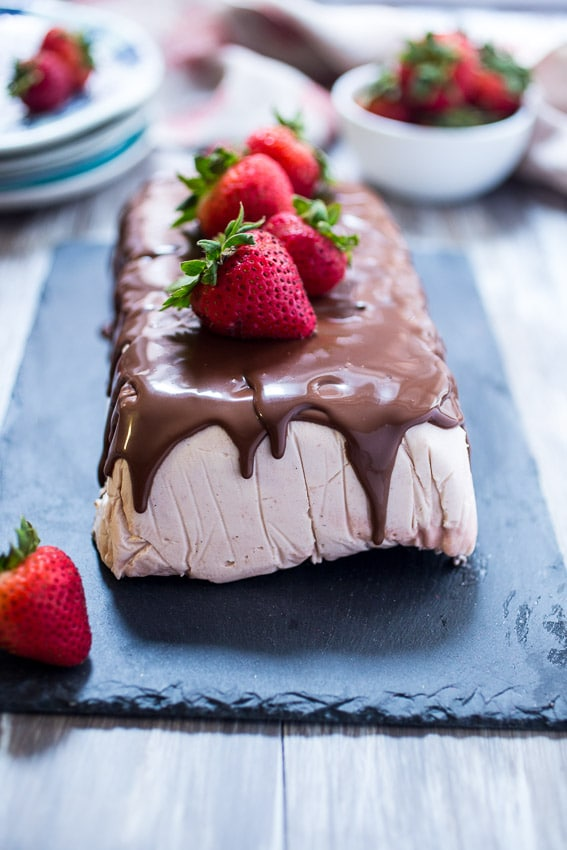 Chocolate Covered Strawberry Semifreddo from The Girl In The Little Red Kitchen
