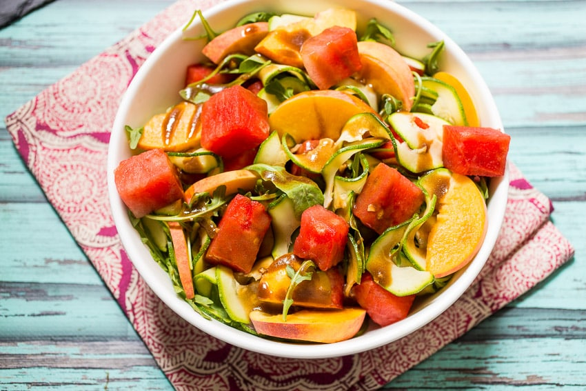 Zucchini Noodle Watermelon and Peach Salad | girlinthelittleredkitchen.com