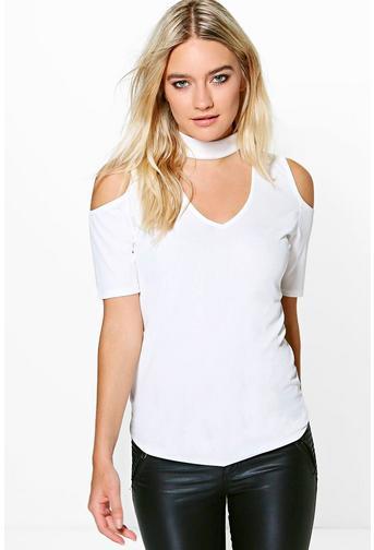 Aria Cold Shoulder Ribbed Choker T-Shirt