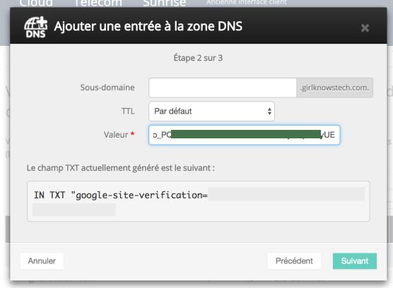 G Suite Entrée DNS Confirmer Domaine