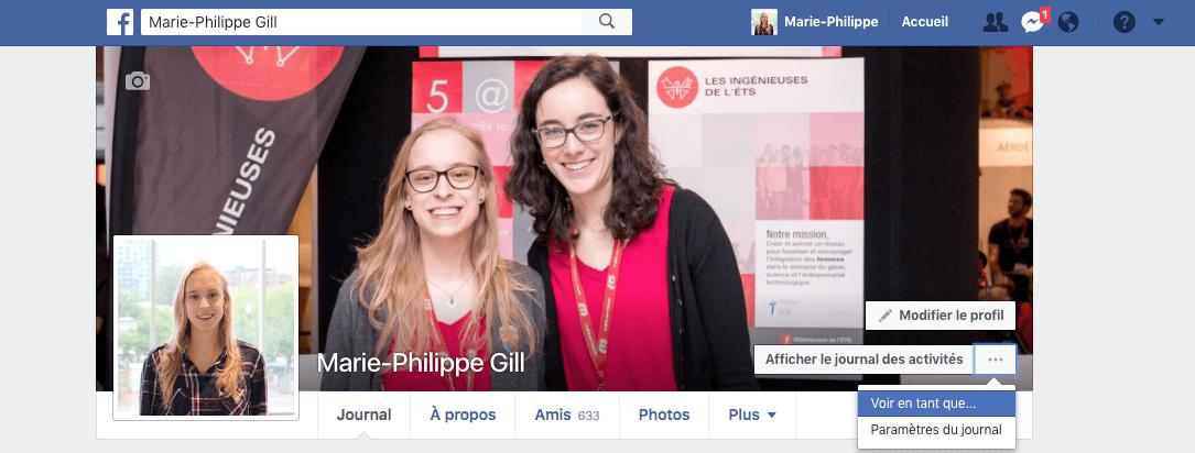 promotion facebook - voir en tant que