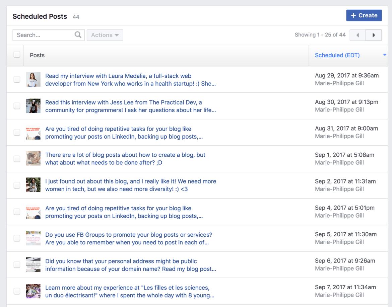 promotion article - publications programmées facebook