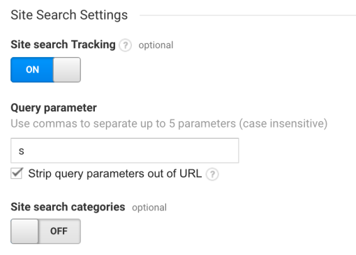 blog search - site search settings