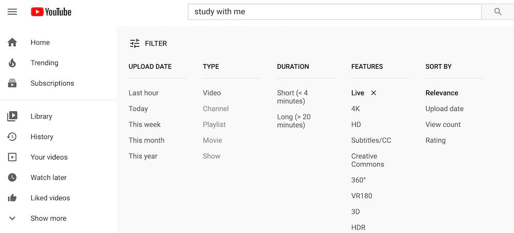 Recherche sur YouTube avec un filtre avancé permettant d'afficher seulement les vidéos en direct