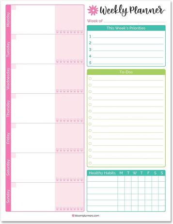 Image of the weekly planner made by Bloom Daily planner for to-do lists apps