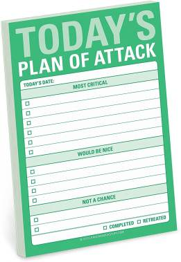 """Image of the planner by Knock Knock. We can read """"Today's Plan of Attack"""" on a green pad with different priorities written in headings: """"Most critical,"""" """"would be nice,"""" and """"not a chance."""""""