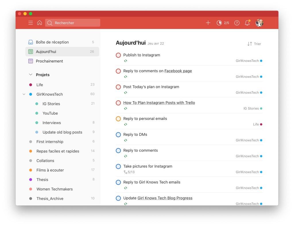 Capture d'écran de l'écran d'accueil de Todoist où on peut voir une to-do list avec des cases à cocher, différentes prioritées définies et une liste de projet sur la gauche.