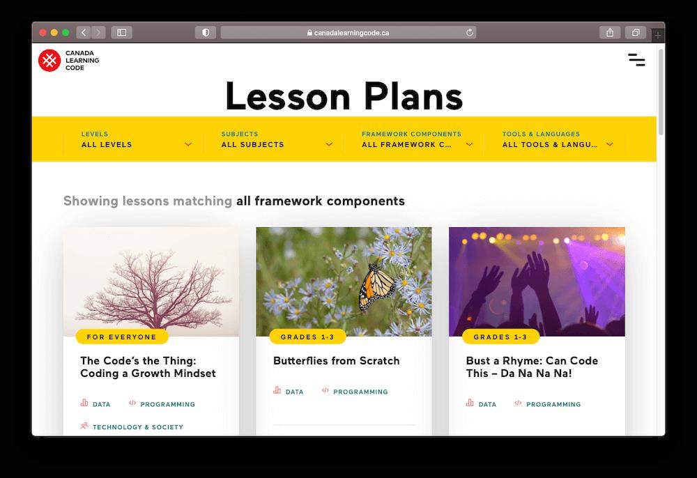 Capture d'écran de la page des plans de cours sur le site de Canada Learning Code, une bonne ressource pour enseigner l'informatique aux enfants.