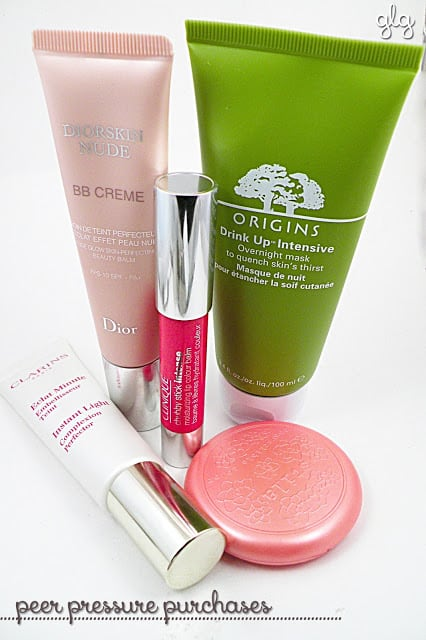 Dior BB Cream, Origins Drink Up Intensive Mask, Stila Gerbera, Clinique chubby stick, Clarins instant light perfector