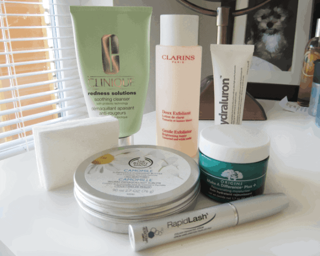 Evening skincare routine with clinique, hydraluron, origins, rapidlash, kiehls, the body shop, clarins