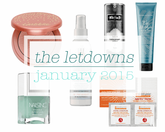 january 2015 beauty makeup letdowns product fails nails inc, dr dennis gross, tarte, kat von d, bumble and bumble, first aid beauty
