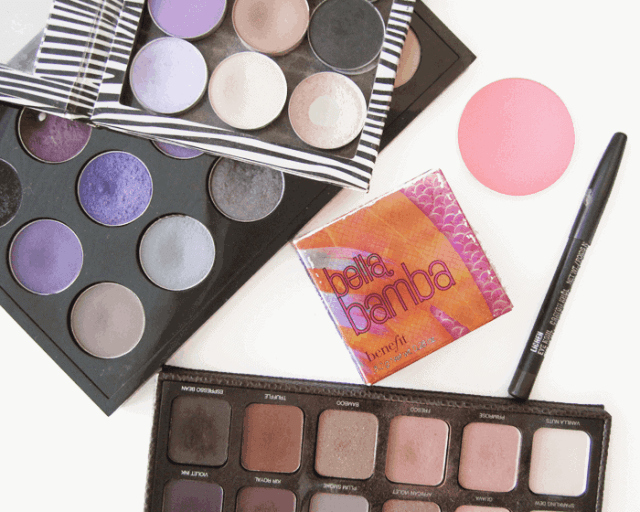 discontinued limited edition makeup, laura mercier artist 2 palette, mac eyeshadow early morning, velvet moss, benefit bella bamba, mac lichen eye kohl, mac pink swoon blush