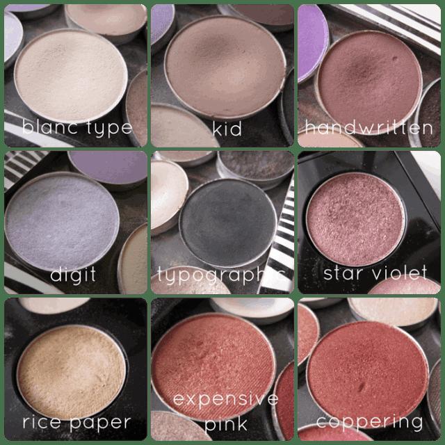 mac cosmetics eyeshadows blanc type, kid, handwritten, digit, typographic, star violet, ricepaper, expensive pink, coppering