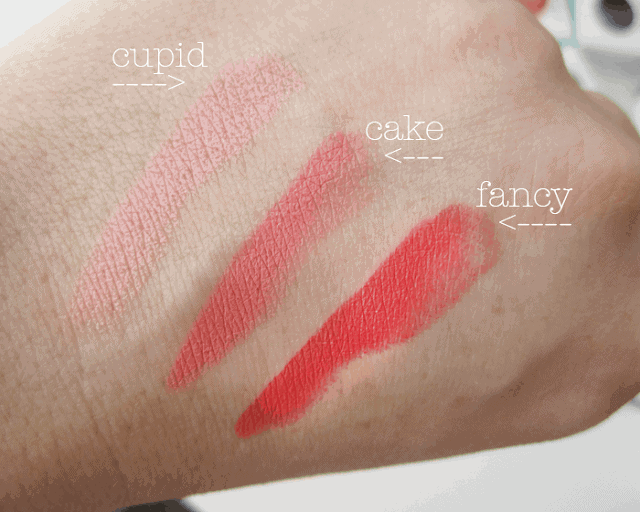 Colourpop Lippie Stix cupid, cake, fancy, primer, review and swatches