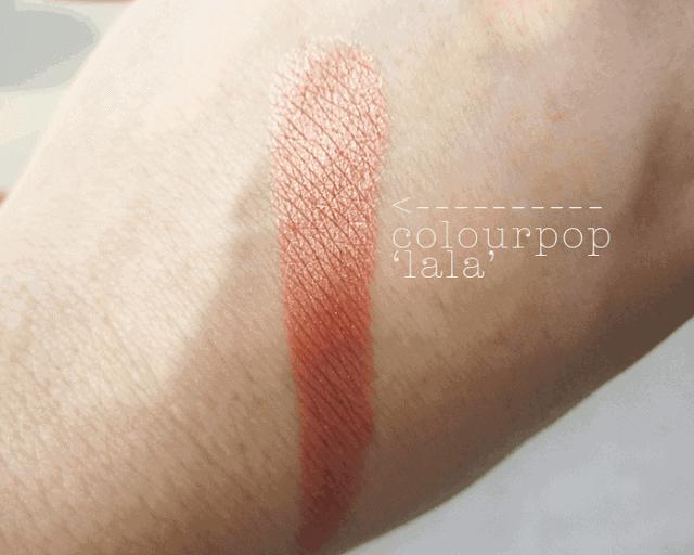 Colourpop.com cosmetics la la rose gold eyeshadow swatch