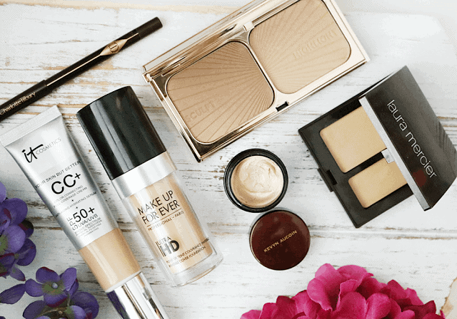 Charlotte Tilbury Rock n Kohl, Make Up For Ever Ultra HD, IT Cosmetics CC Cream, Kevyn Aucoin Sensual Skin Enhancer, Charlotte Tilbury Filmstar Bronze and Glow, Laura Mercier Secret Camouflage