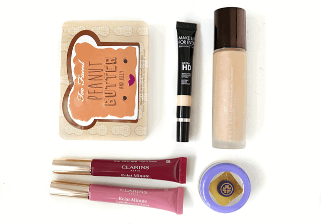5 New Launches for Feb 2016: Too Faced Peanut Butter and Jelly, Make Up For Ever HD Concealer, Becca Squa Luminous Foundation, Clarins Instant Light Lip Perfectors, Tatcha Gold Camellia Lip Balm
