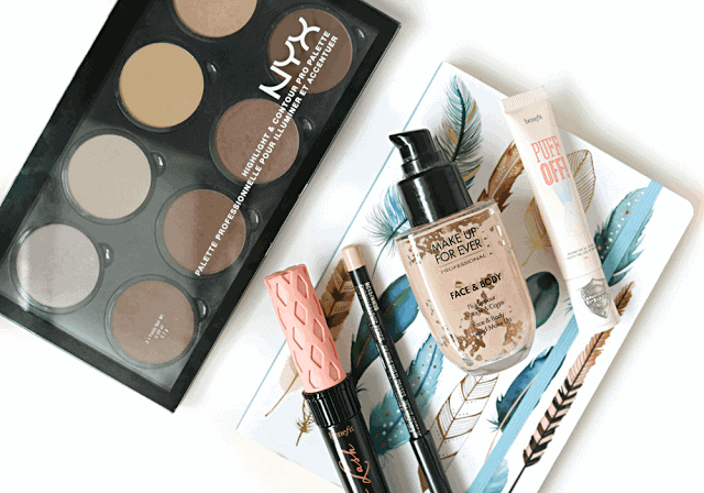 Beauty Rediscoveries : NYX Contour Palette, Benefit Roller Lash Mascara, Benefit Puff Off, MAC Chromagraphic, Make Up For Ever Face and Body Foundation, NYX Taupe Blush
