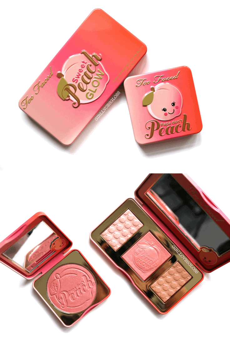 Too Faced Sweet Peach Glow Palette and Papa Don't Peach Blush Review and Swatches