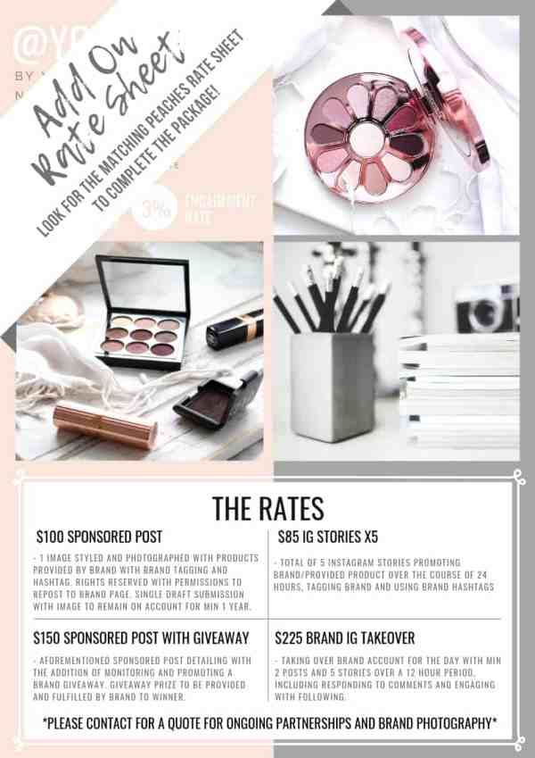 PEACHES rate sheet add on