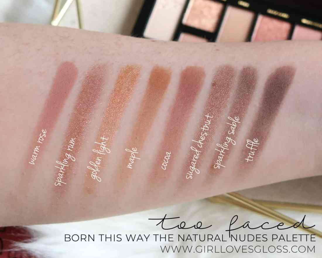 Too faced The Natural Nudes Palette Swatches