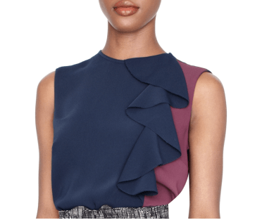 Sophie Theallet Colorblock Ruffle Top by the Limited