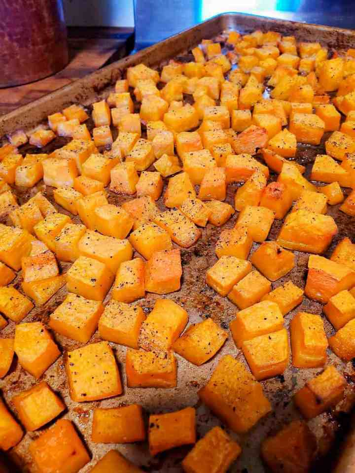 a picture of the butternut squash after it has been roasted in the oven