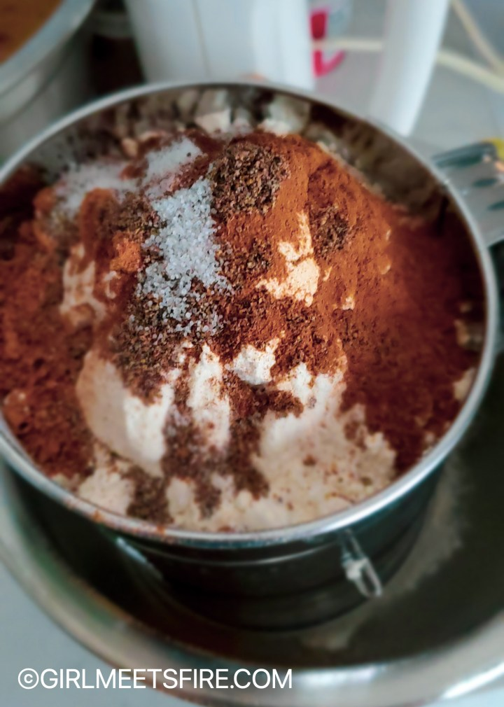 Flour, and spices inside a sifter