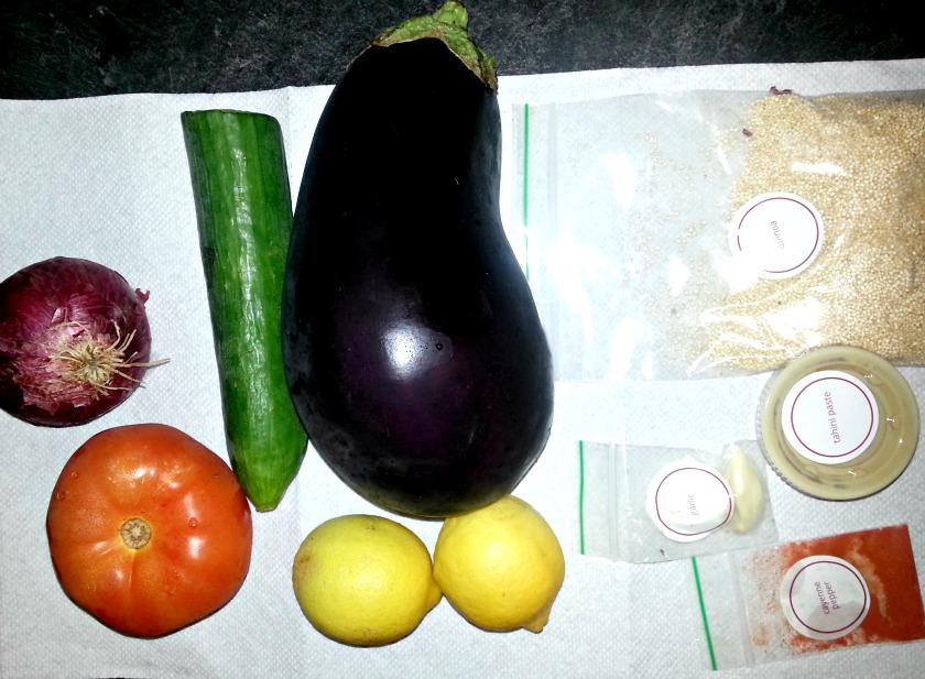 Eggplant quinoa tabbouleh