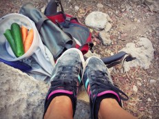 Who needs hiking boots when you've got well-worn sneakers and resolve?