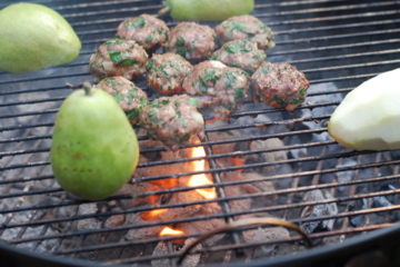 Pear on grill and other meat