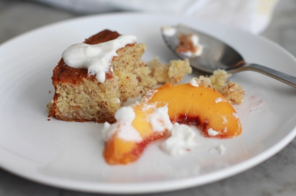 almond cake with poached peaches and coconut cream  www.girlontherange.com