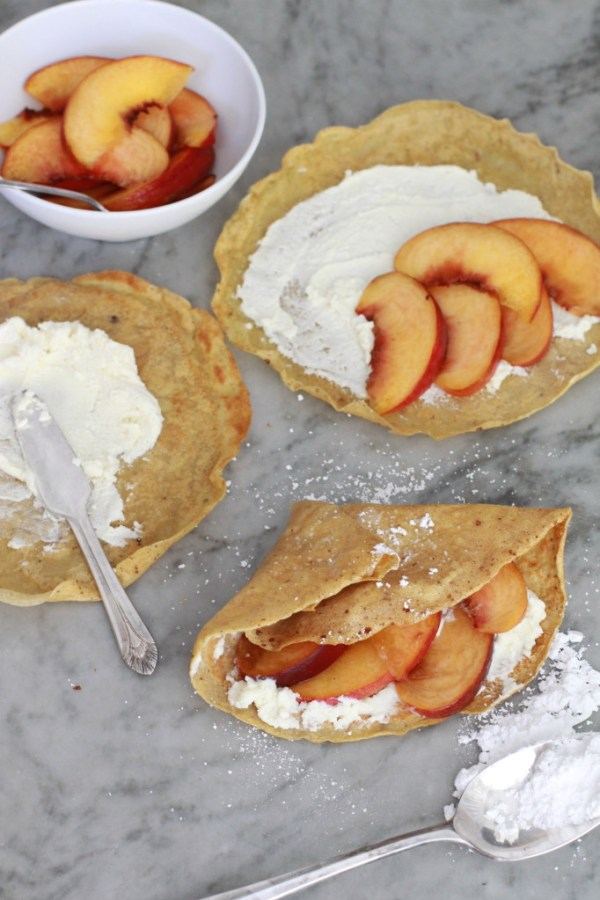 cinnamon crepes with peahes and cream www.girlontherange.com