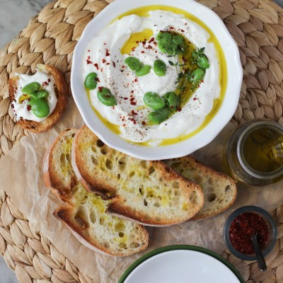 food on toast – spiced labneh and fava beans