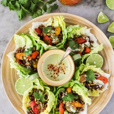 roasted vegetable and lentil tacos with avocado cream