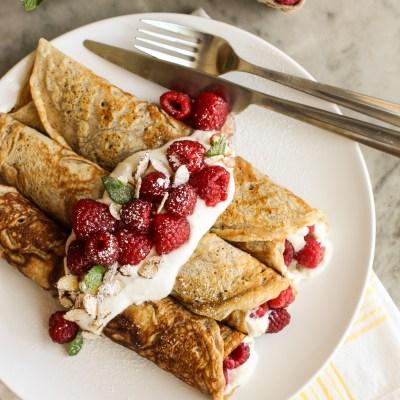 lemon ricotta and raspberry crepes